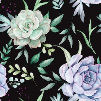 Hermoso diseño floral acuarela de patrones sin fisuras
