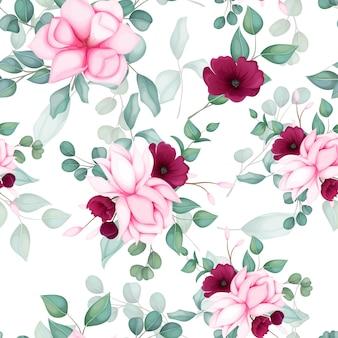 Hermoso diseño floral de patrones sin fisuras