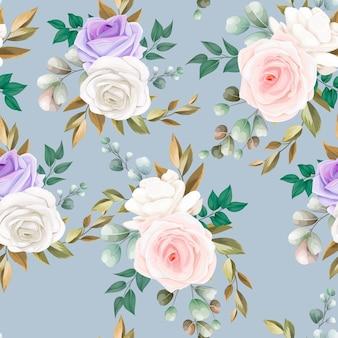 Hermoso diseño de flores y hojas de patrones sin fisuras