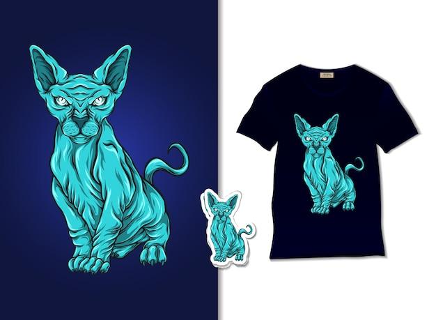 Hermoso diseño de ilustración de sphynx azul