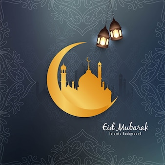 Hermoso diseño islámico de eid mubarak con luna dorada.