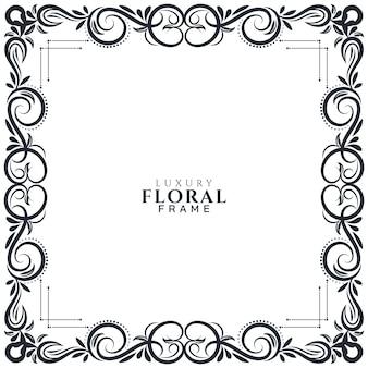 Hermoso diseño de marco floral decorativo