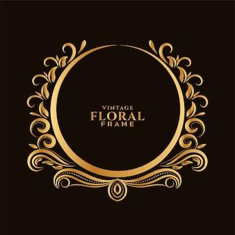 Hermoso diseño de marco floral dorado circular