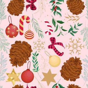 Hermoso diseño de patrón de navidad dibujado a mano