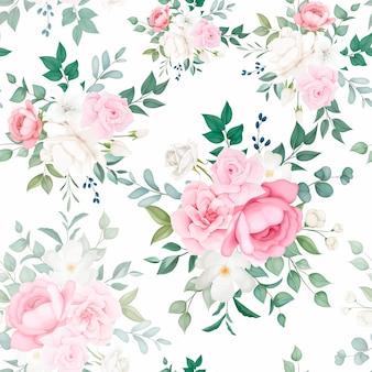 Hermoso diseño de patrones sin fisuras florales suaves