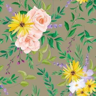 Hermoso diseño de patrones sin fisuras de flores silvestres