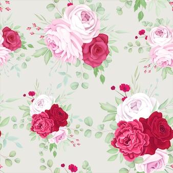 Hermoso diseño de patrones sin fisuras con marco floral rojo y rosa