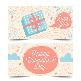 Hermoso diseño plano banners de san valentín