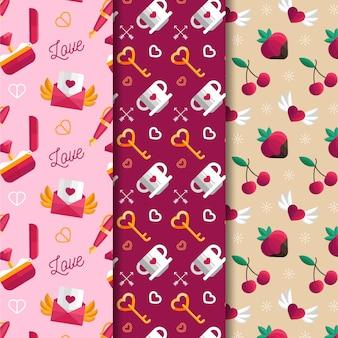 Hermoso diseño plano colección de patrones de san valentín