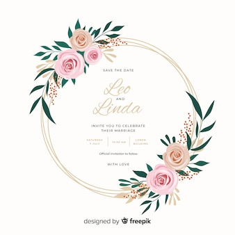 Hermoso diseño plano de invitación de boda marco floral