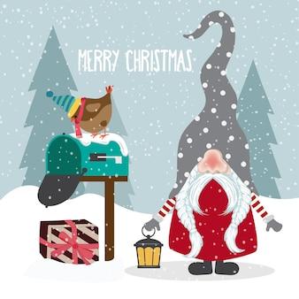 Hermoso diseño plano tarjeta de navidad con gnomo alegre.