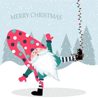 Hermoso diseño plano tarjeta de navidad gracioso gnomo colgando.