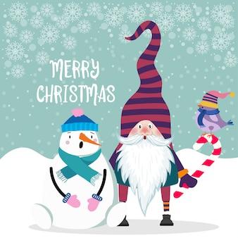Hermoso diseño plano tarjeta de navidad muñeco de nieve y gnomo.