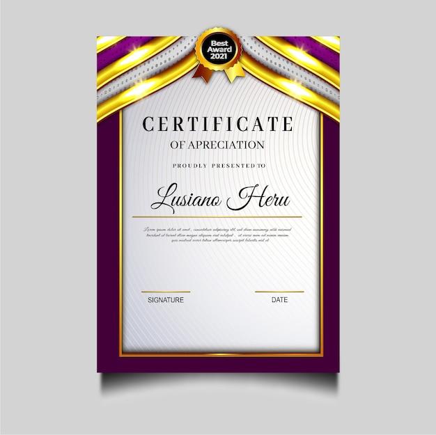 Hermoso diseño de plantilla de archivo de certificado de diploma