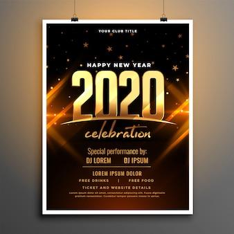 Hermoso diseño de plantilla de cartel de celebración de año nuevo 2020