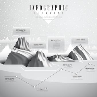 Hermoso diseño de plantilla de infografía con paisaje polar