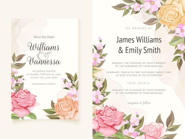 Hermoso diseño de plantilla de invitación de boda floral