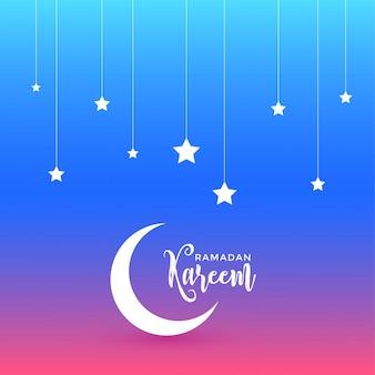 Hermoso diseño de ramadan kareem con luna y estrellas