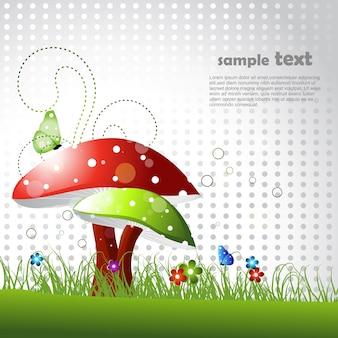 Hermoso diseño de seta con espacio para texto