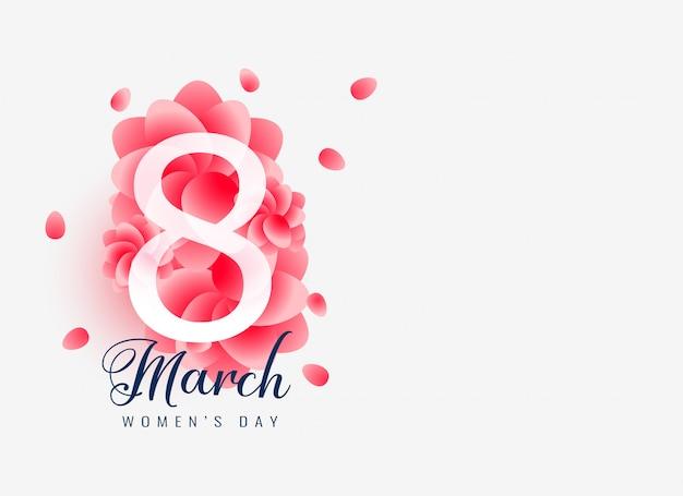 Hermoso diseño de la tarjeta del día de la mujer feliz 8 de marzo.