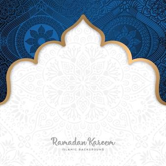 Hermoso diseño de tarjeta de felicitación de ramadan kareem con arte de mandala