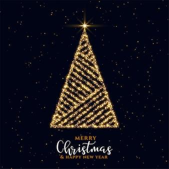 Hermoso diseño de tarjeta de festival de árbol de navidad de chispa dorada