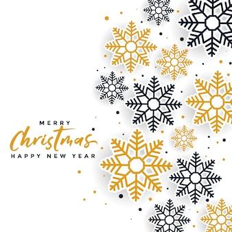 Hermoso diseño de tarjeta de festival de copos de nieve de feliz navidad