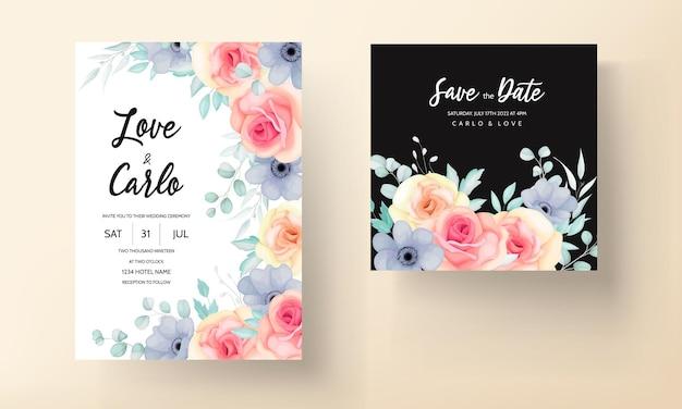 Hermoso diseño de tarjeta de invitación de boda floral dibujado a mano