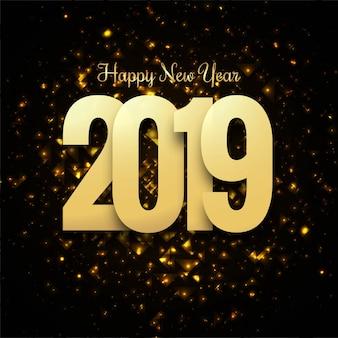Hermoso diseño de texto feliz año nuevo 2019