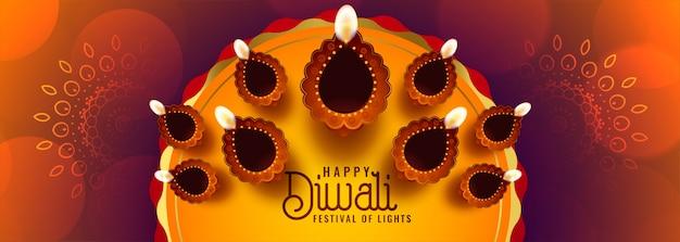 Hermoso diwali diya decoración estilo étnico indio banner