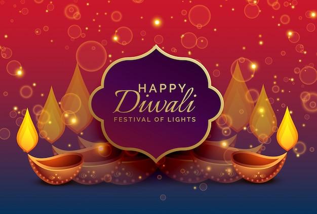 Hermoso diwali saludo de fondo con diya y chispas