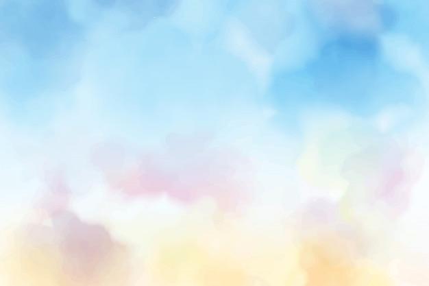 Hermoso dulce algodón de azúcar crepúsculo cielo acuarela fondo eps10 vectores ilustración