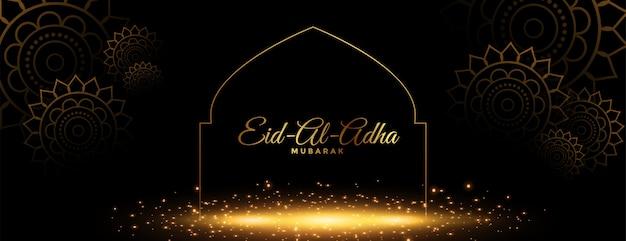 Hermoso eid al adha mubarak banner dorado