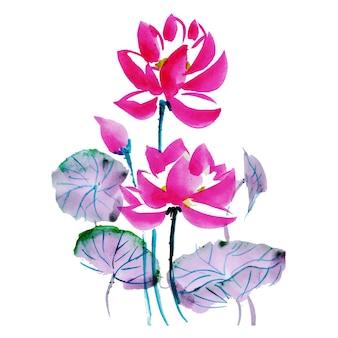 Hermoso elemento floral de acuarela