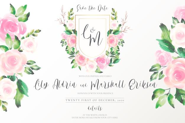Hermoso emblema de boda con flores suaves
