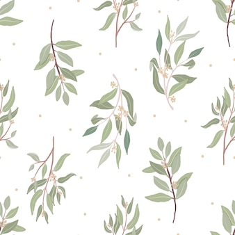 Hermoso eucalipto orgánico sin semillas dibujado a mano mínimo deja un patrón sin costuras