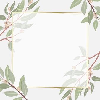Hermoso eucalipto sembrado mínimo deja marco dorado cuadrado