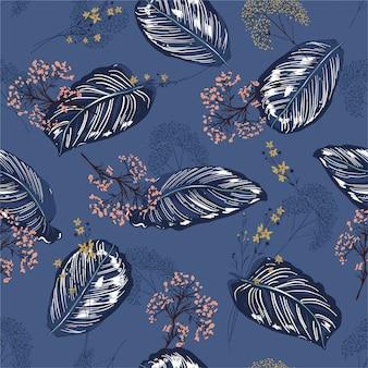 Hermoso exótico tropical botánico hojas y flores de patrones sin fisuras