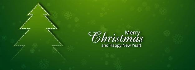 Hermoso feliz árbol de navidad banner para verde