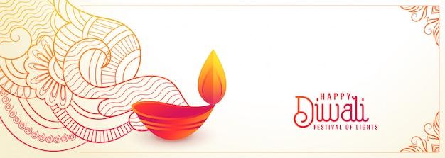 Hermoso feliz diwali banner decorativo blanco