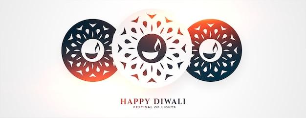 Hermoso feliz festival de diwali banner blanco