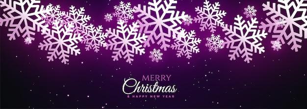 Hermoso feliz navidad brillante copos de nieve banner