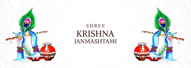 Hermoso festival feliz krishna janmashtami banner