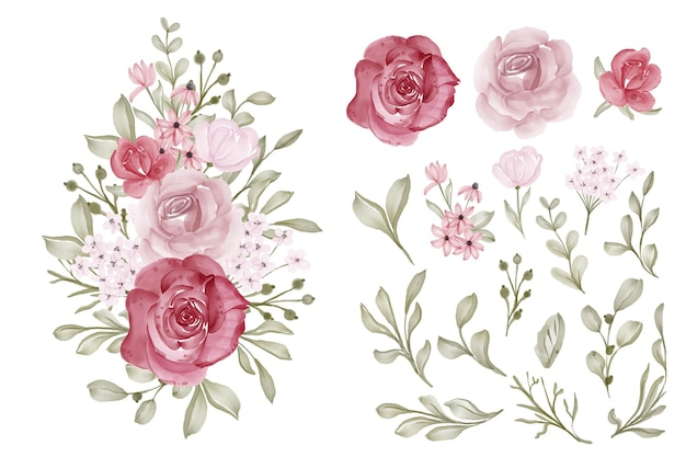 Hermoso, flor, acuarela, aislado clip art