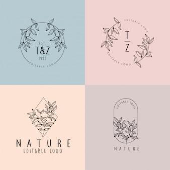 Hermoso floral femenino editable logotipo monolino premade