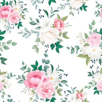 Hermoso floral y hojas de patrones sin fisuras