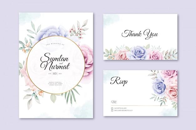 Hermoso floral en plantilla de tarjeta de boda