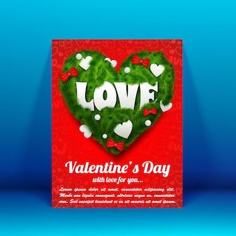 Hermoso folleto de saludo con texto y corazón verde de ramas de abeto, cinta, arcos, adornos, ilustración vectorial aislada