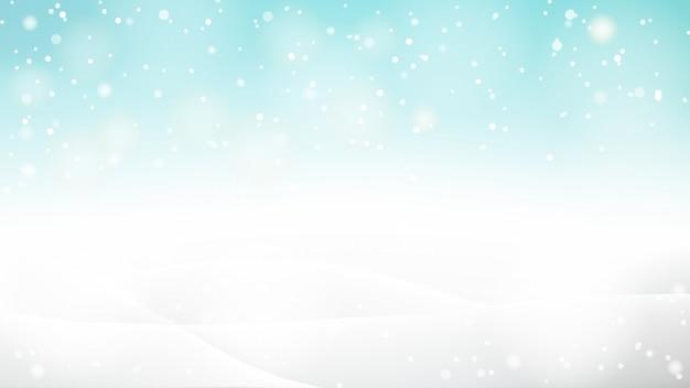 Hermoso fondo abstracto bokeh nevado para invierno o navidad
