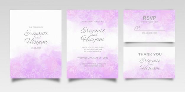Hermoso fondo de acuarela de tarjeta de boda con salpicaduras y líneas florales